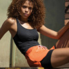 Skiny SK86 Tank Top Black 082876 and Shorts Orange 083111-9183