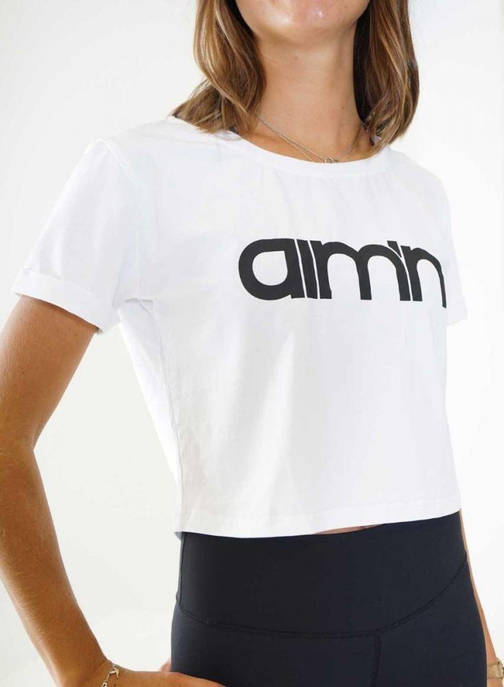 Aim'n White Crop T-Shirt 18070002 b