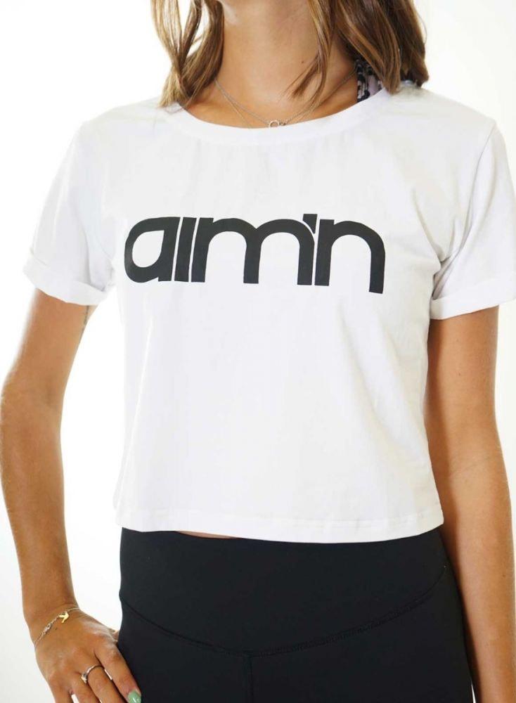 Aim'n White Crop T-Shirt 18070002