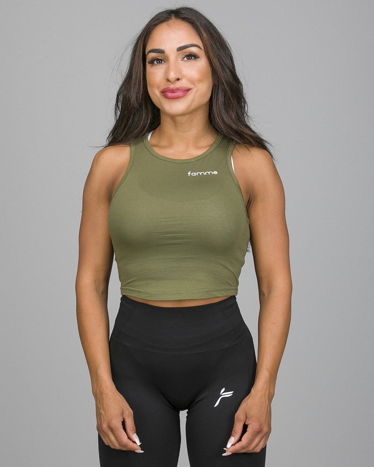 Famme Pure Crop Top Army Green PCT-AG