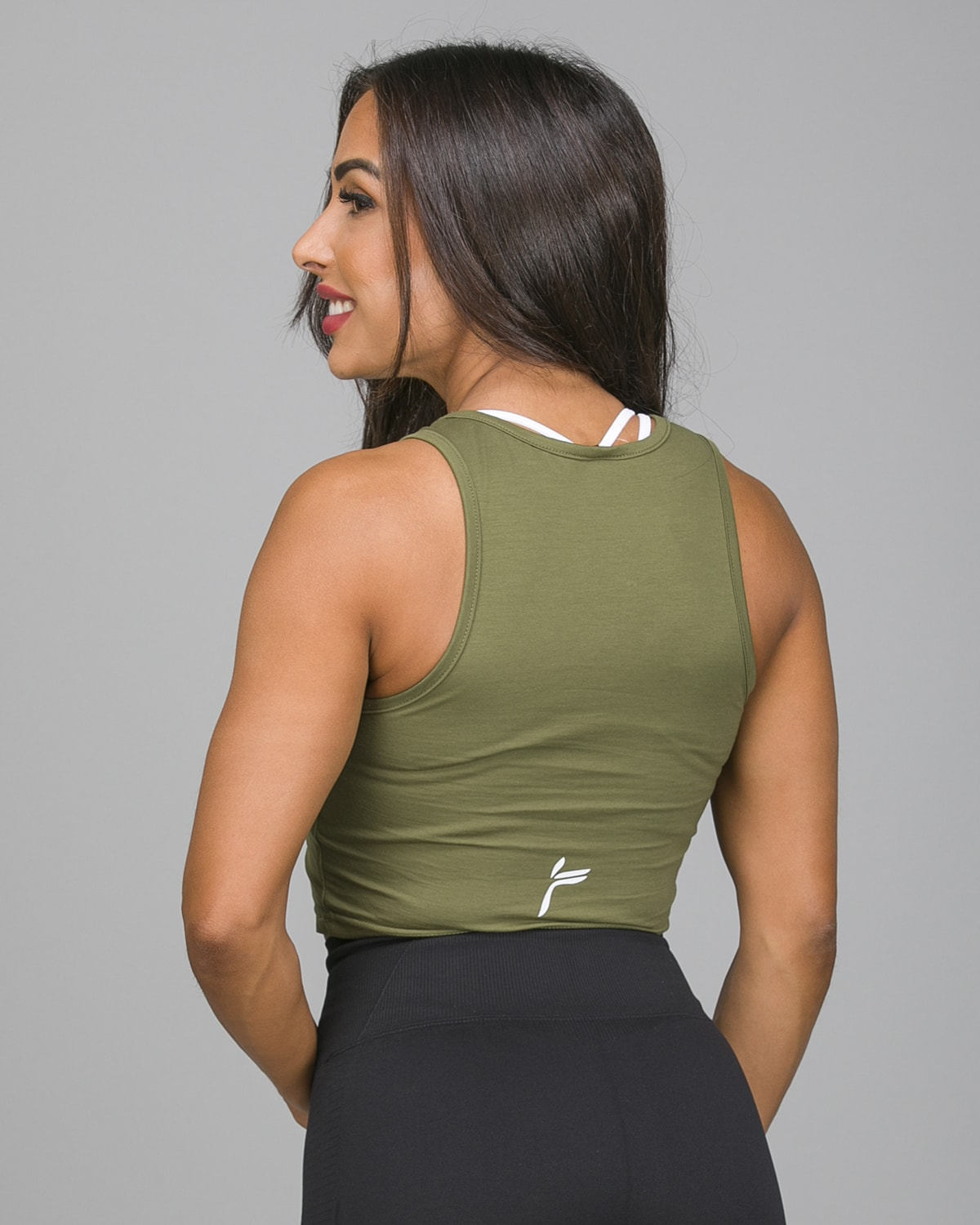 Famme Pure Crop Top Army Green PCT-AG d