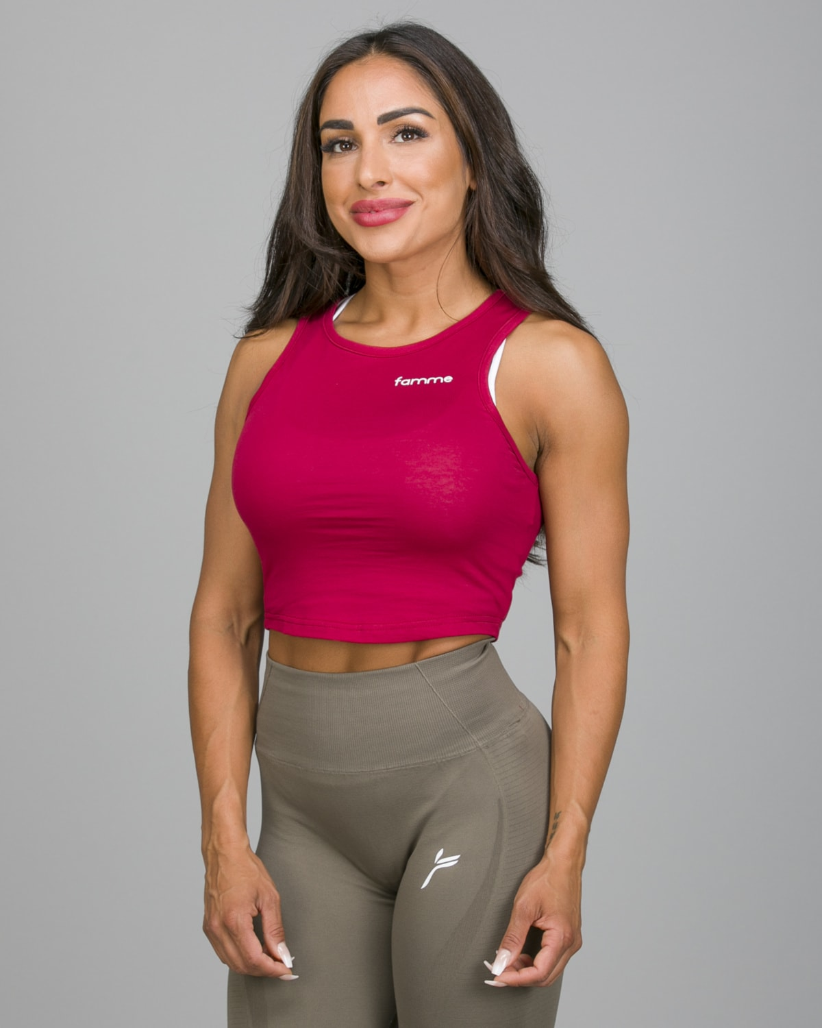 Famme Pure Crop Top Dark Red PCT-DR b