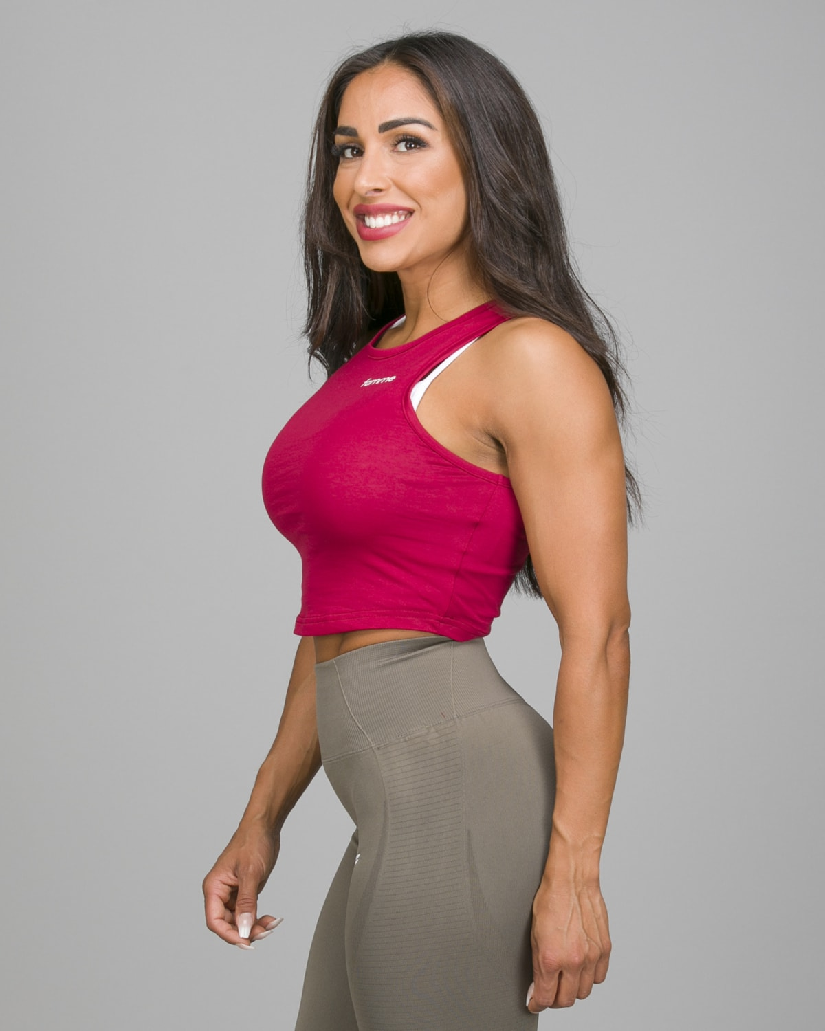 Famme Pure Crop Top Dark Red PCT-DR c