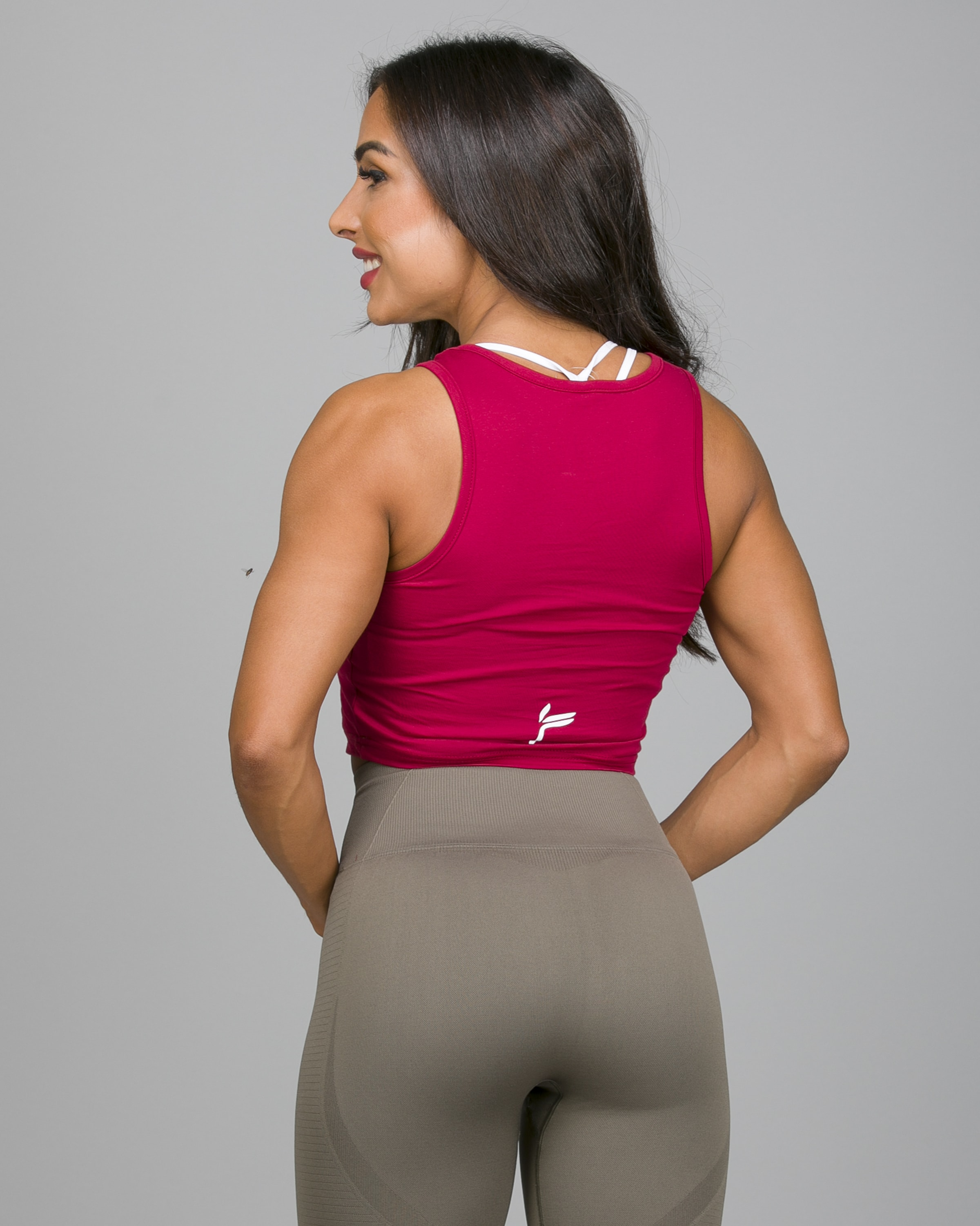Famme Pure Crop Top Dark Red PCT-DR d
