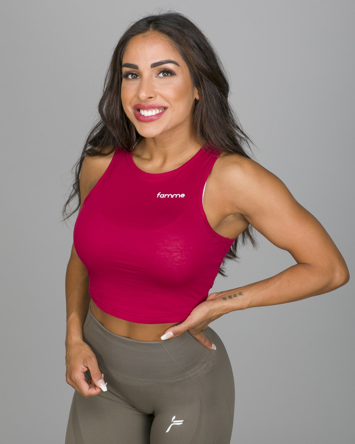 Famme Pure Crop Top Dark Red PCT-DR g