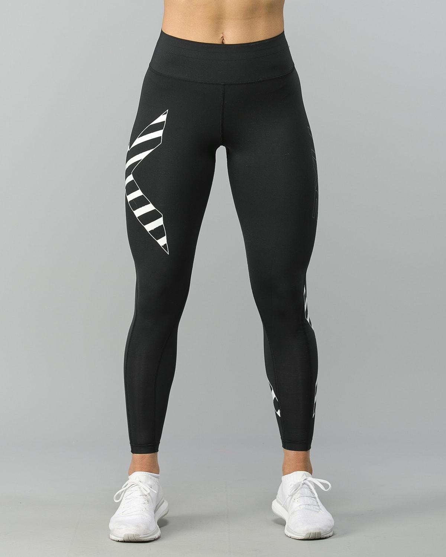 2XU-Bonded-Mid-Rise-Comp-Tights–Black-Paint -Stripes-White1