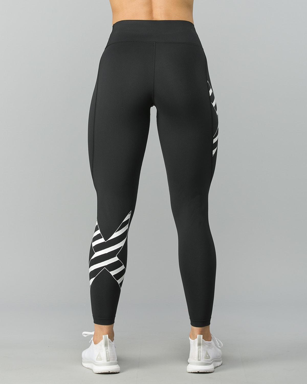 2XU-Bonded-Mid-Rise-Comp-Tights–Black-Paint -Stripes-White3