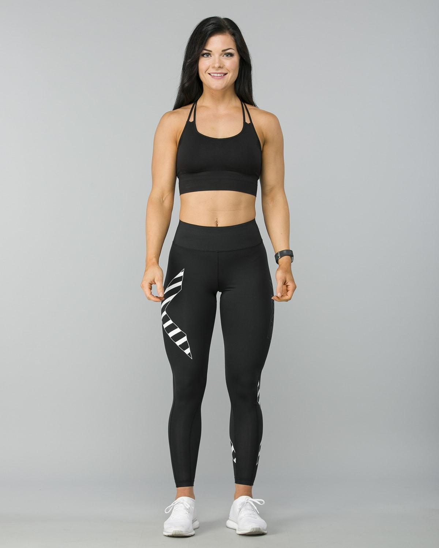 2XU-Bonded-Mid-Rise-Comp-Tights–Black-Paint -Stripes-White4