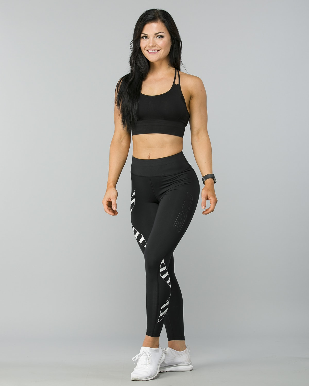 2XU-Bonded-Mid-Rise-Comp-Tights–Black-Paint -Stripes-White5