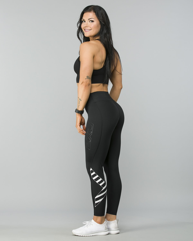 2XU-Bonded-Mid-Rise-Comp-Tights–Black-Paint -Stripes-White6