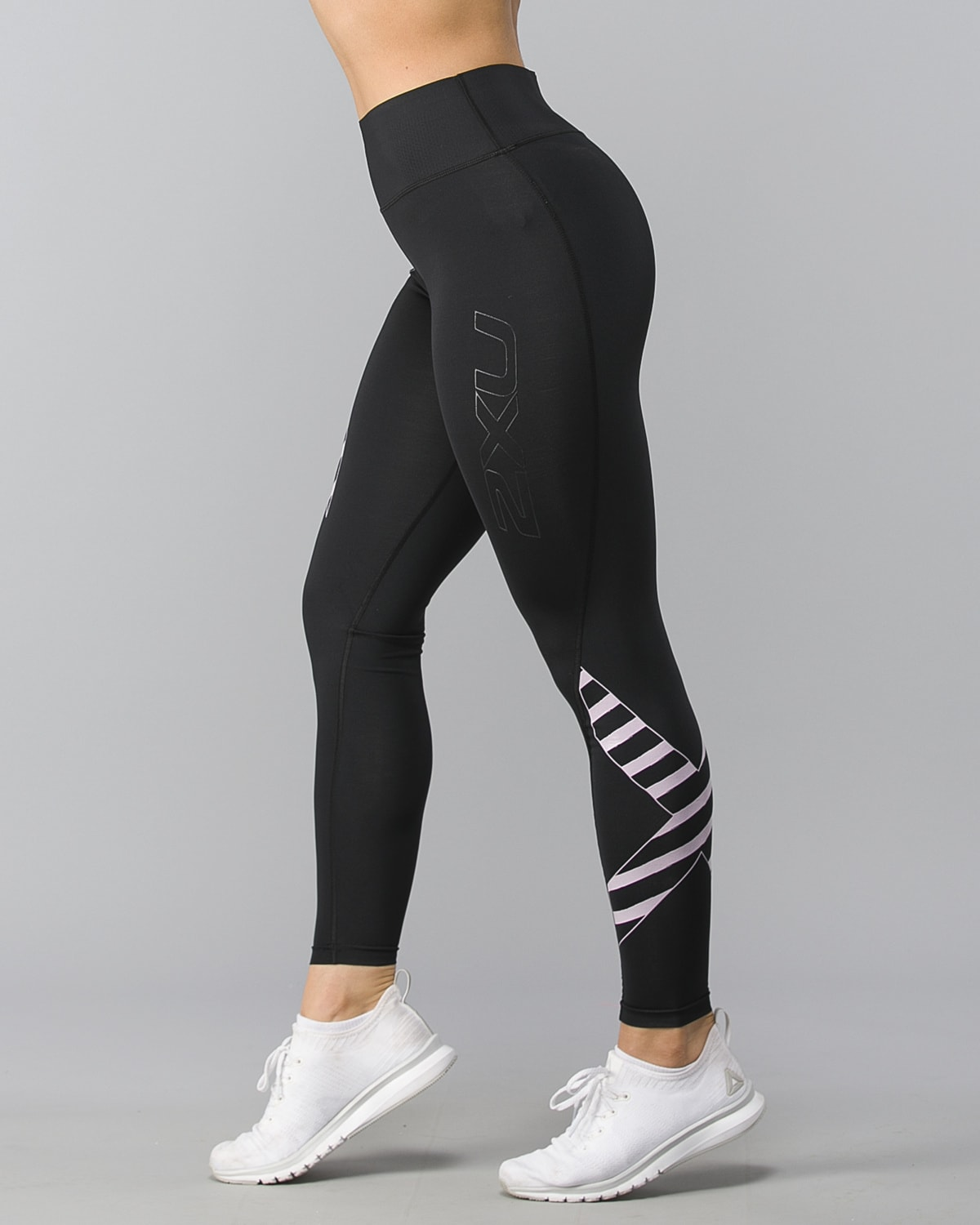 2XU-Bonded-Midrise-Comp-Tights-W–Black-Paint-Stripes-Wndsome-Orchid1