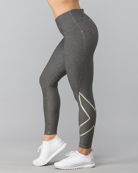 Print Mid-Rise Comp Tights W - Brick Black/Champagne