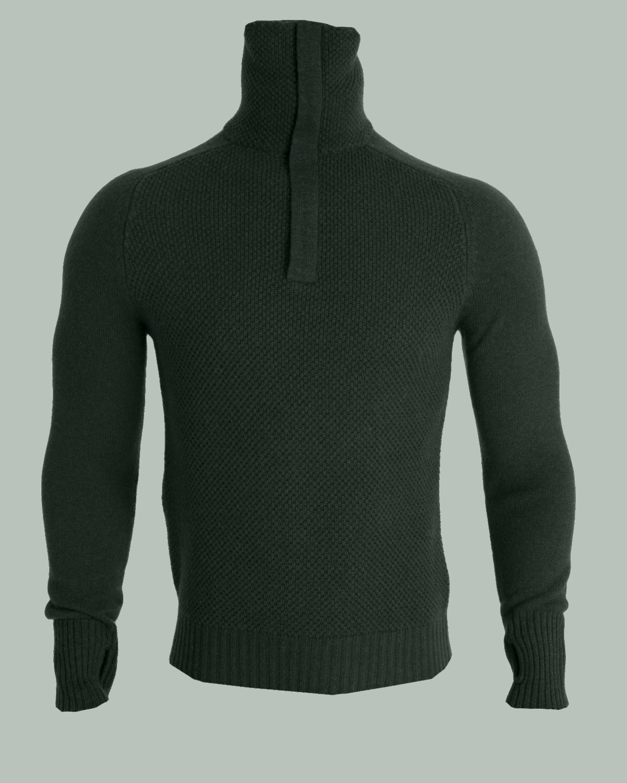 AW18 Tufte Bambull Blend Half Zip Sweater Men Deep Forest Melange Front-edited
