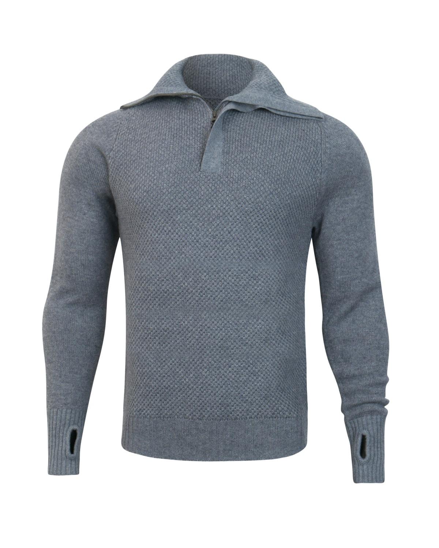 Tufte Unisex Bambull Blend Half Zip Sweater Grey Melange