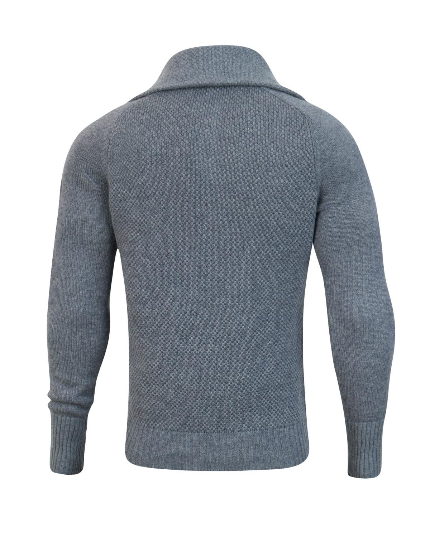 Tufte Unisex Bambull Blend Half Zip Sweater Grey Melange Back