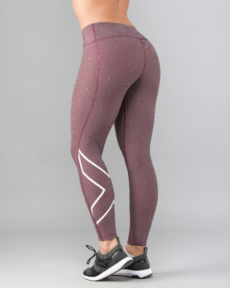 Print Mid-Rise Comp Tights W - Brick Pink/White