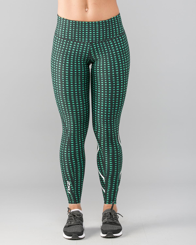 2XU-Print-Mid-Rise-Comp-Tights-W–Golf-Green-Urban-Grid-White