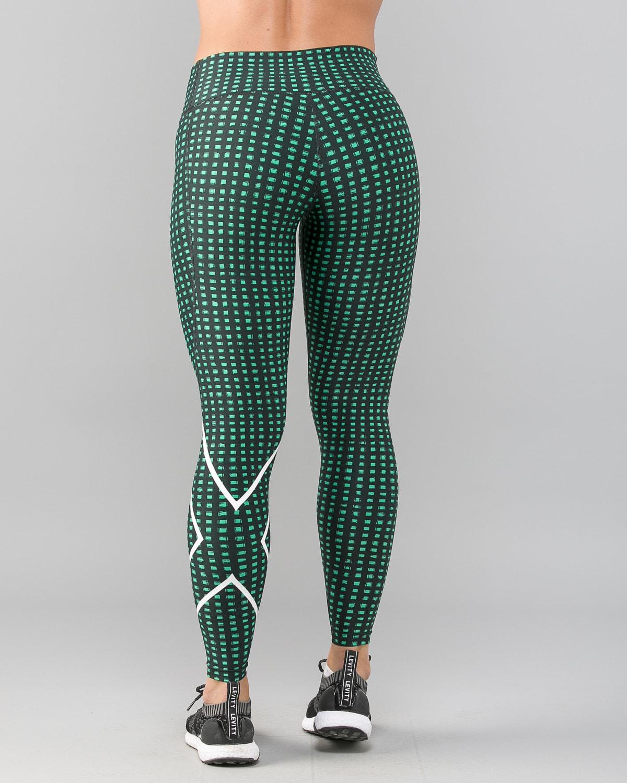 2XU-Print-Mid-Rise-Comp-Tights-W–Golf-Green-Urban-Grid-White3
