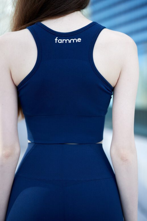 FAMME Navy Blue Elevate Crop Top ectpu-nb b