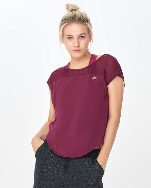 Only Play Dandy Curved Short Sleeve Tee – Rhododendron 15154983 e