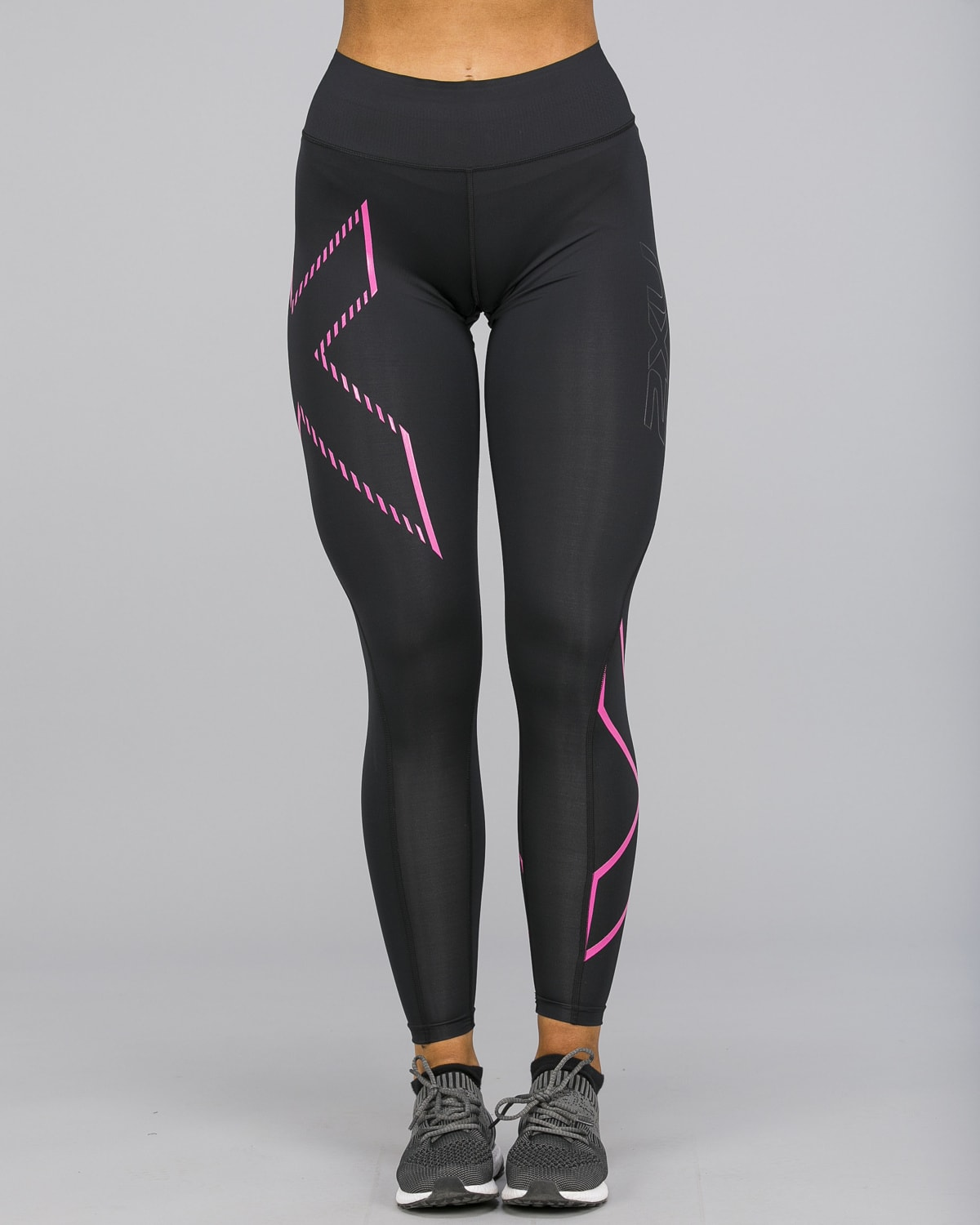 2XU – Bonded Mid-Rise Compression Tights – Black:Fracture Fuschia d