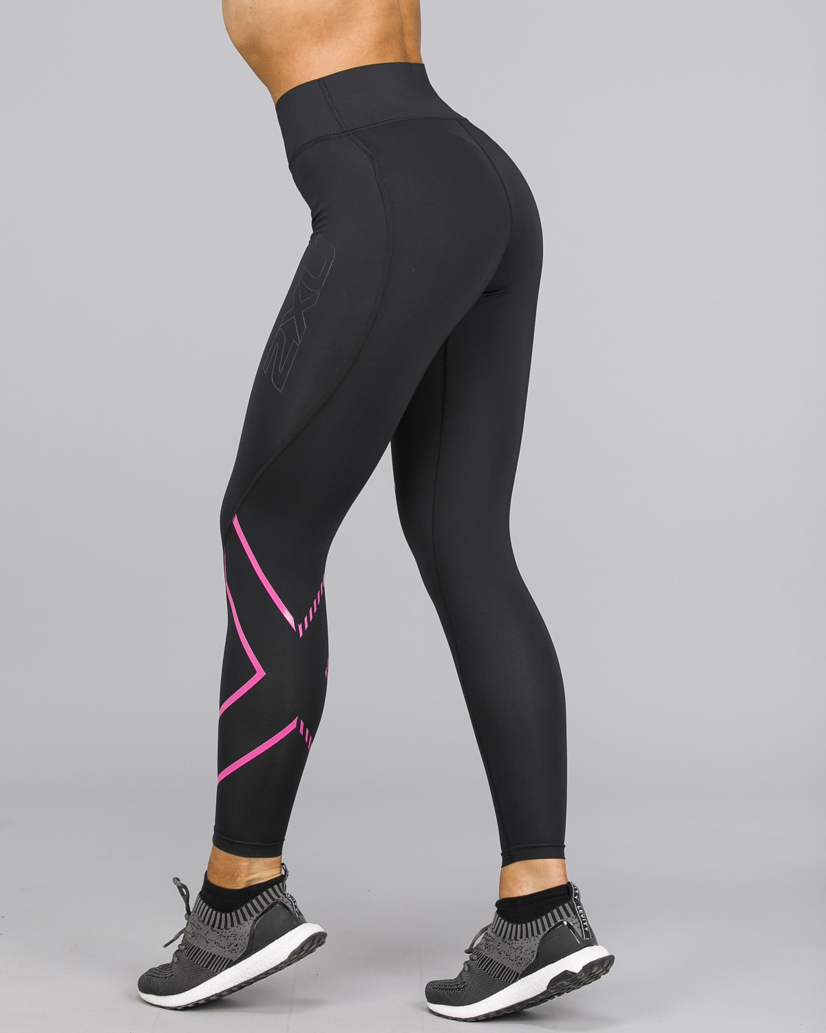 2XU – Bonded Mid-Rise Compression Tights – Black:Fracture Fuschia f