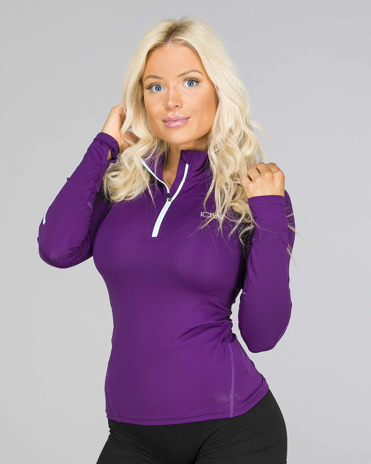ICANIWILL – Long Sleeve 1:4 Zip – Purple a
