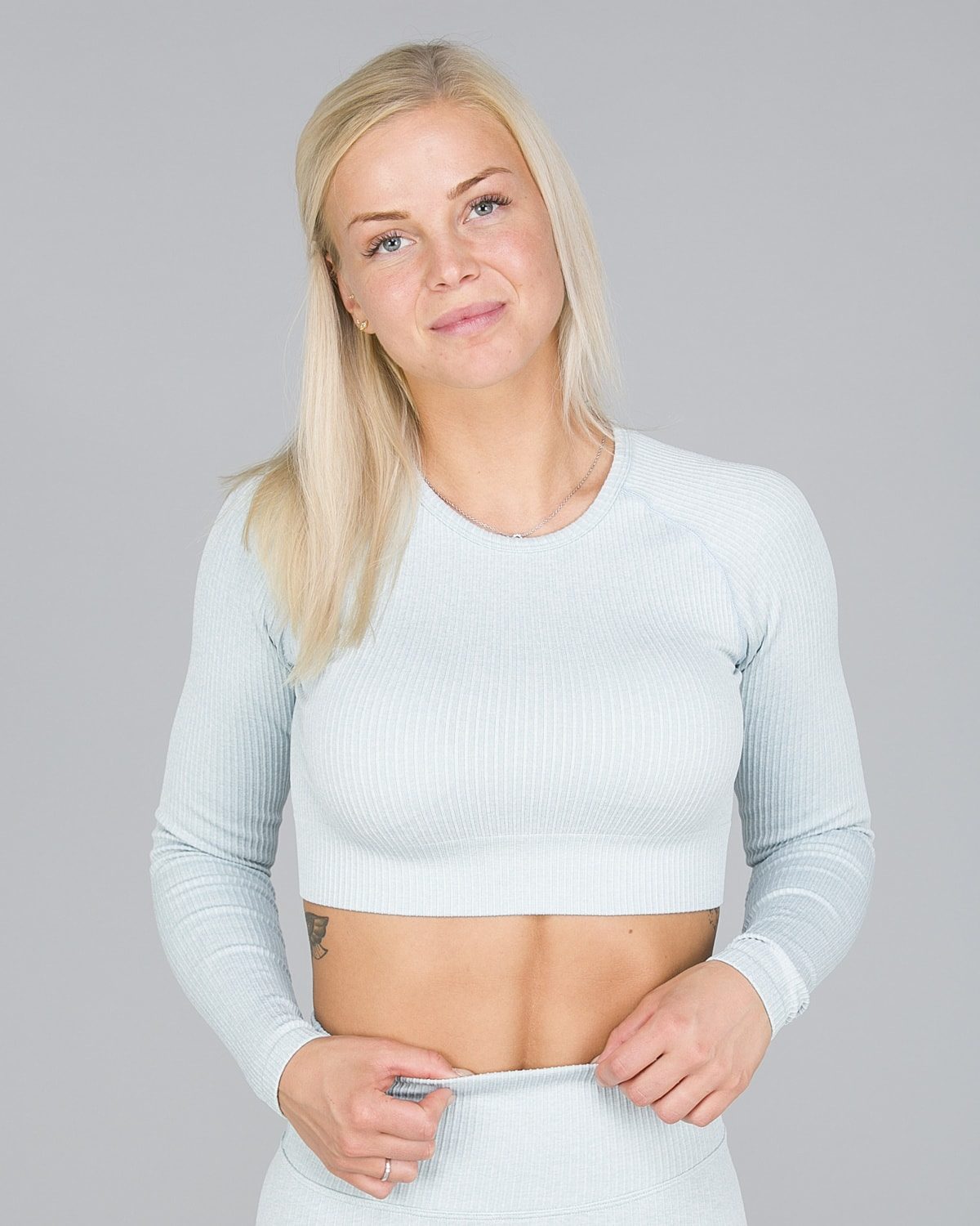 Aim'n Turquoise Ribbed Seamless Crop Top Long Sleeve1