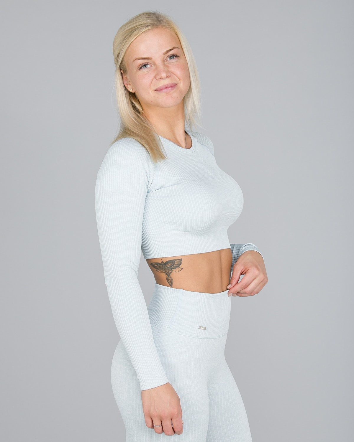 Aim'n Turquoise Ribbed Seamless Crop Top Long Sleeve3