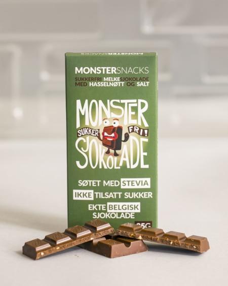 Belgisk Stevia Melkesjokolade - Hasselnøtt & Salt 85g