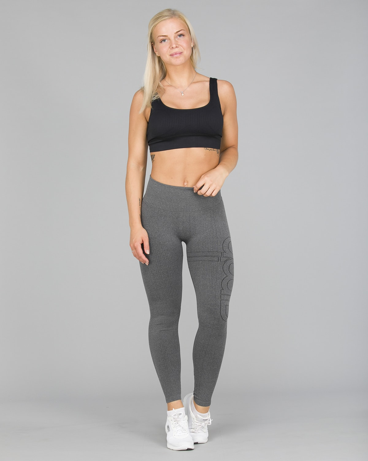 Aim'n Grey Ribbed Seamless Tights5