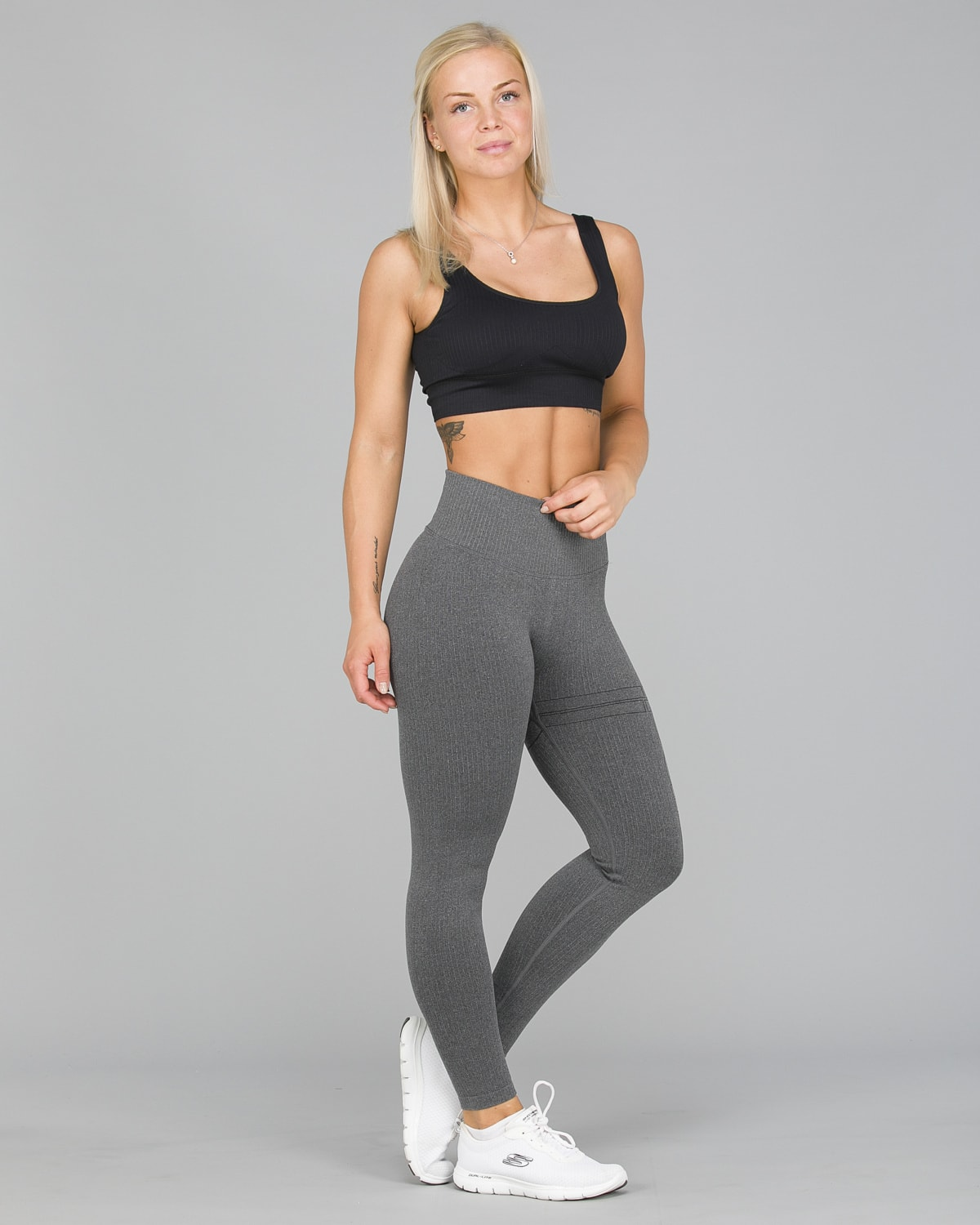 Aim'n Grey Ribbed Seamless Tights6