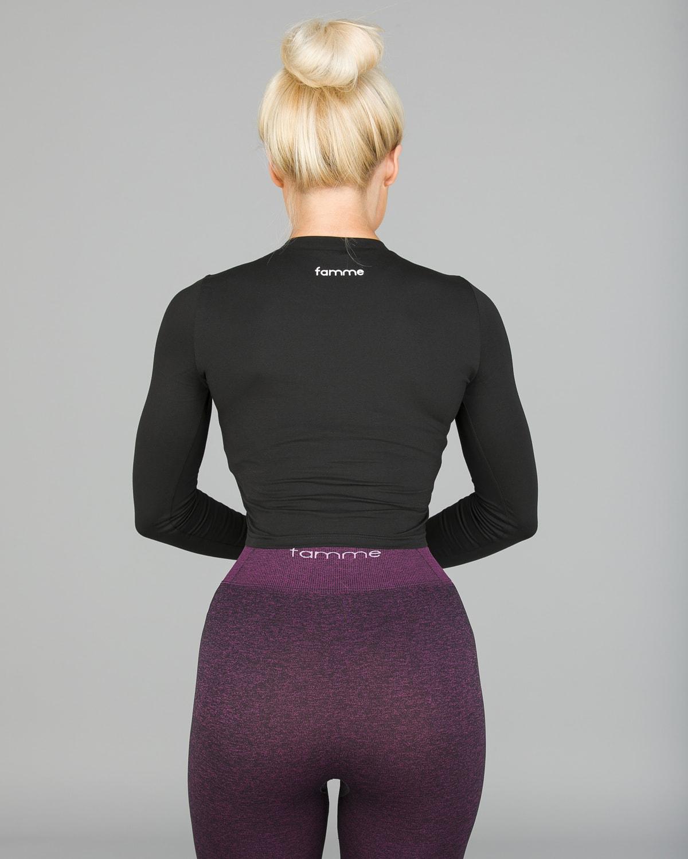 FAMME – Pure Crop Long Sleeve – Black1