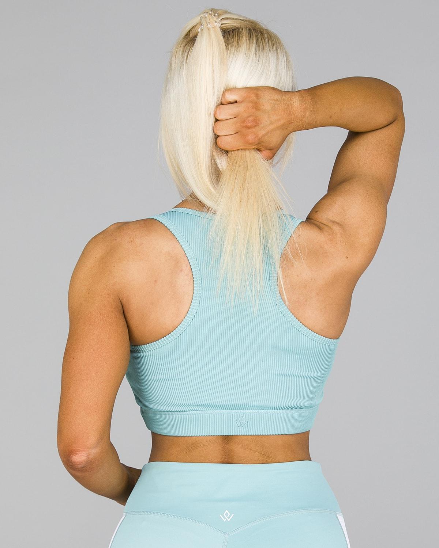 Workout Empire – Core Ribbed Knot Sportsbh – Aqua4