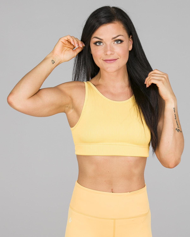 Workout Empire – Core Ribbed Knot Sportsbh – Buff Yellow1