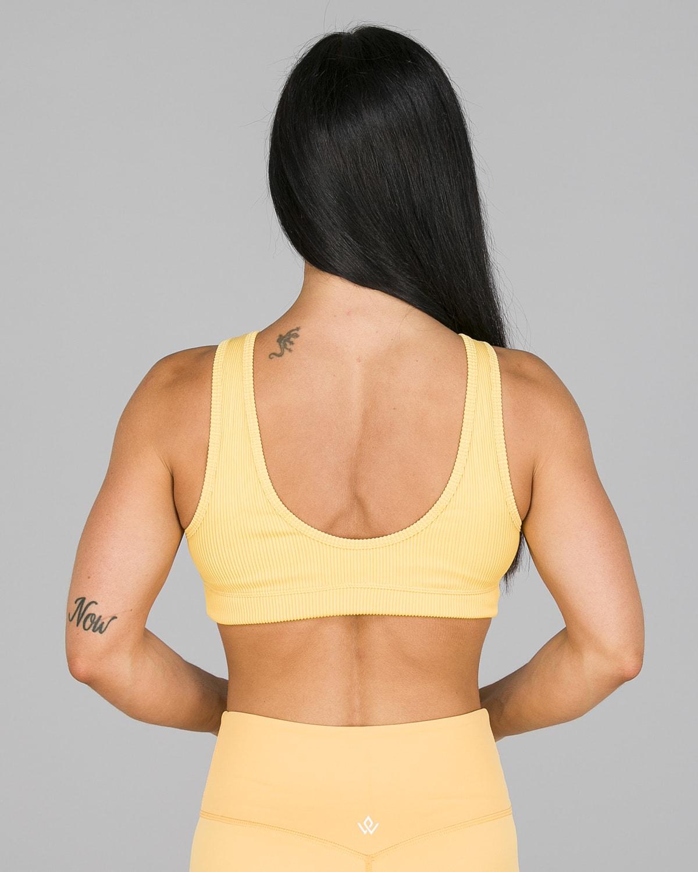 Workout Empire – Core Ribbed Knot Sportsbh – Buff Yellow10