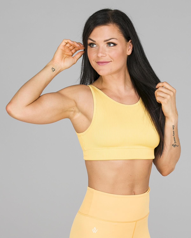 Workout Empire – Core Ribbed Knot Sportsbh – Buff Yellow11