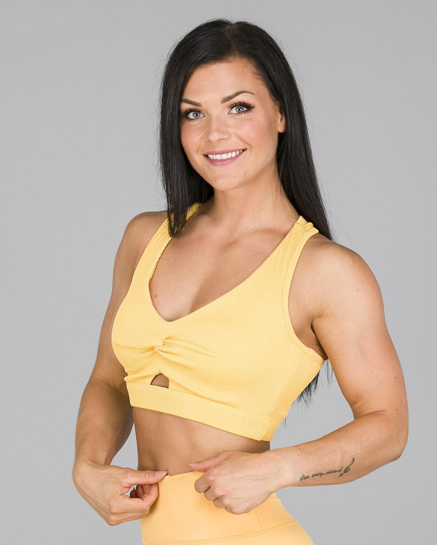 Workout Empire – Core Ribbed Knot Sportsbh – Buff Yellow3