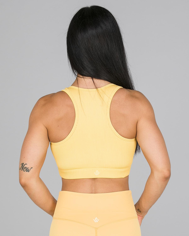 Workout Empire – Core Ribbed Knot Sportsbh – Buff Yellow5