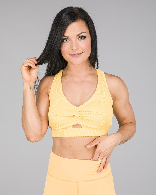 Workout Empire – Core Ribbed Knot Sportsbh – Buff Yellow7