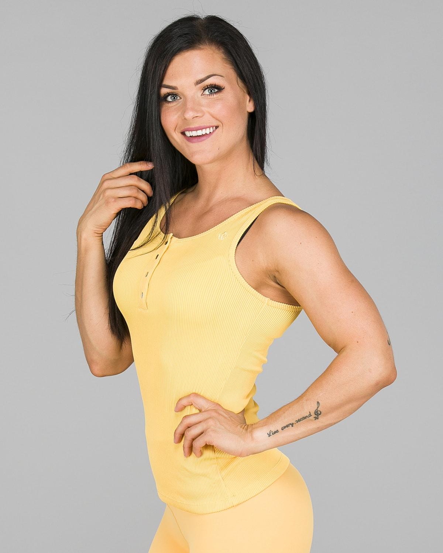Workout Empire – Core Ribbed Tank – Buff Yellow2