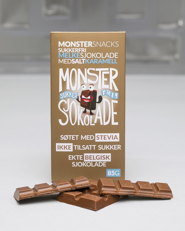 Monster Sukkerfri Belgisk Stevia Melkesjokolade – Salty Caramel 85g