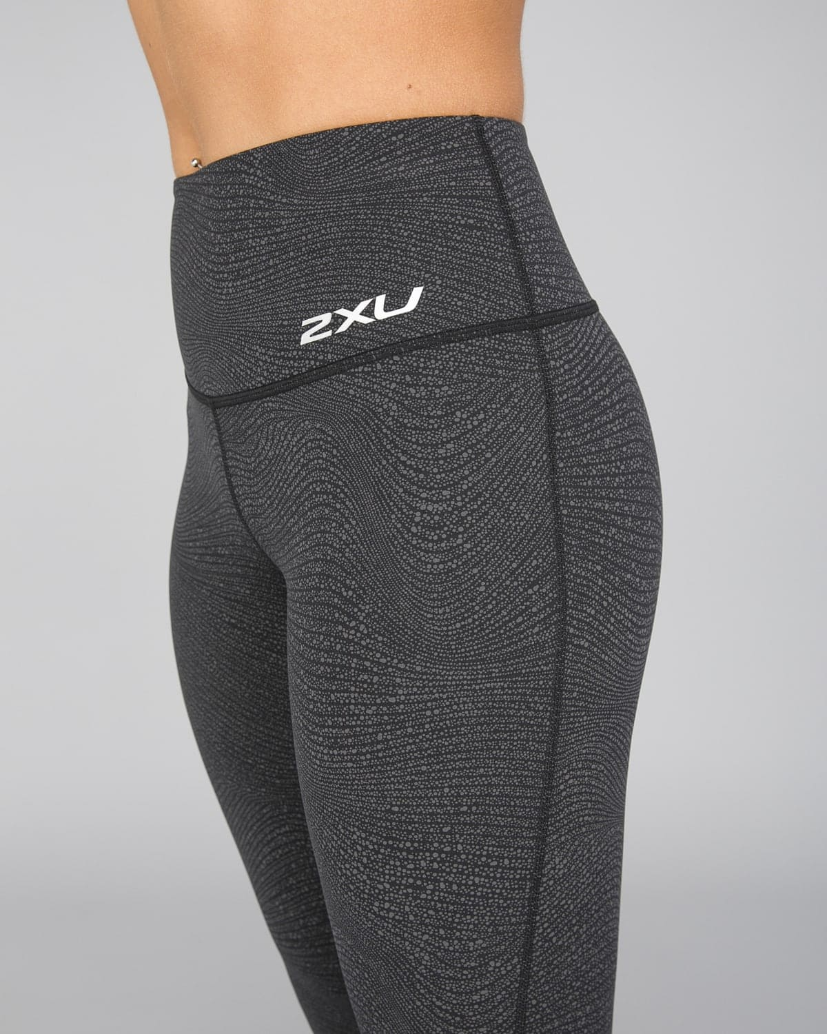 2XU Fitness Hi-Rise Comp Tights Women – Wave Spot Charcoal:Silver12