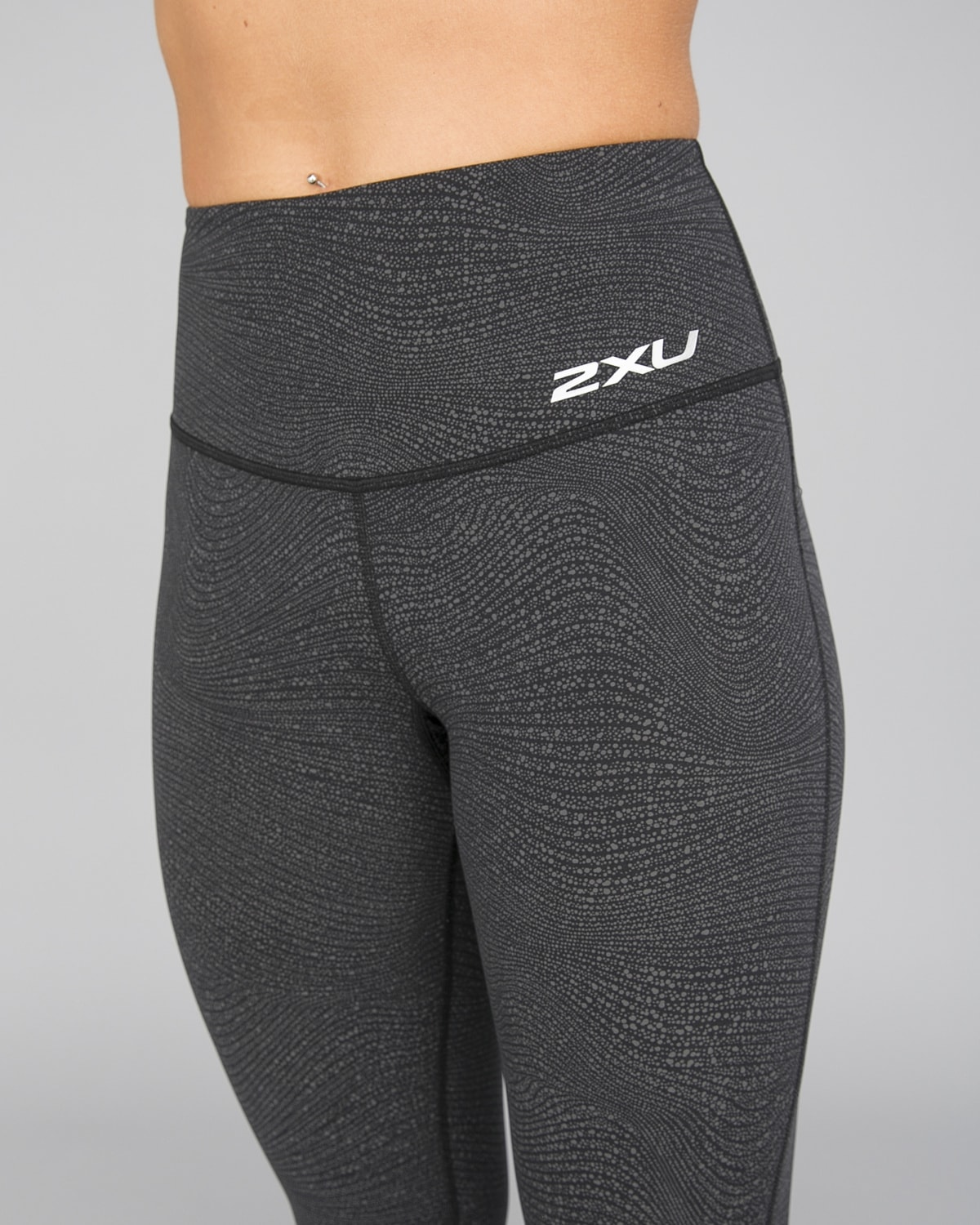 2XU Fitness Hi-Rise Comp Tights Women – Wave Spot Charcoal:Silver13