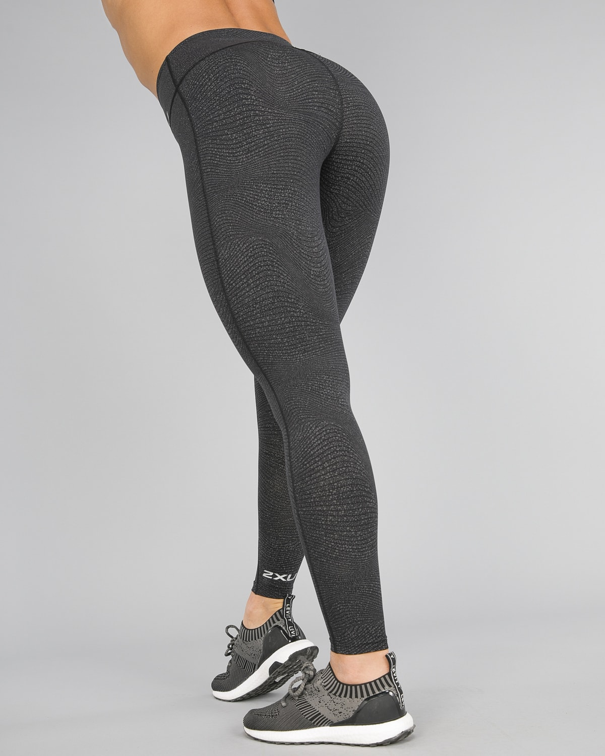 2XU Fitness Hi-Rise Comp Tights Women – Wave Spot Charcoal:Silver16