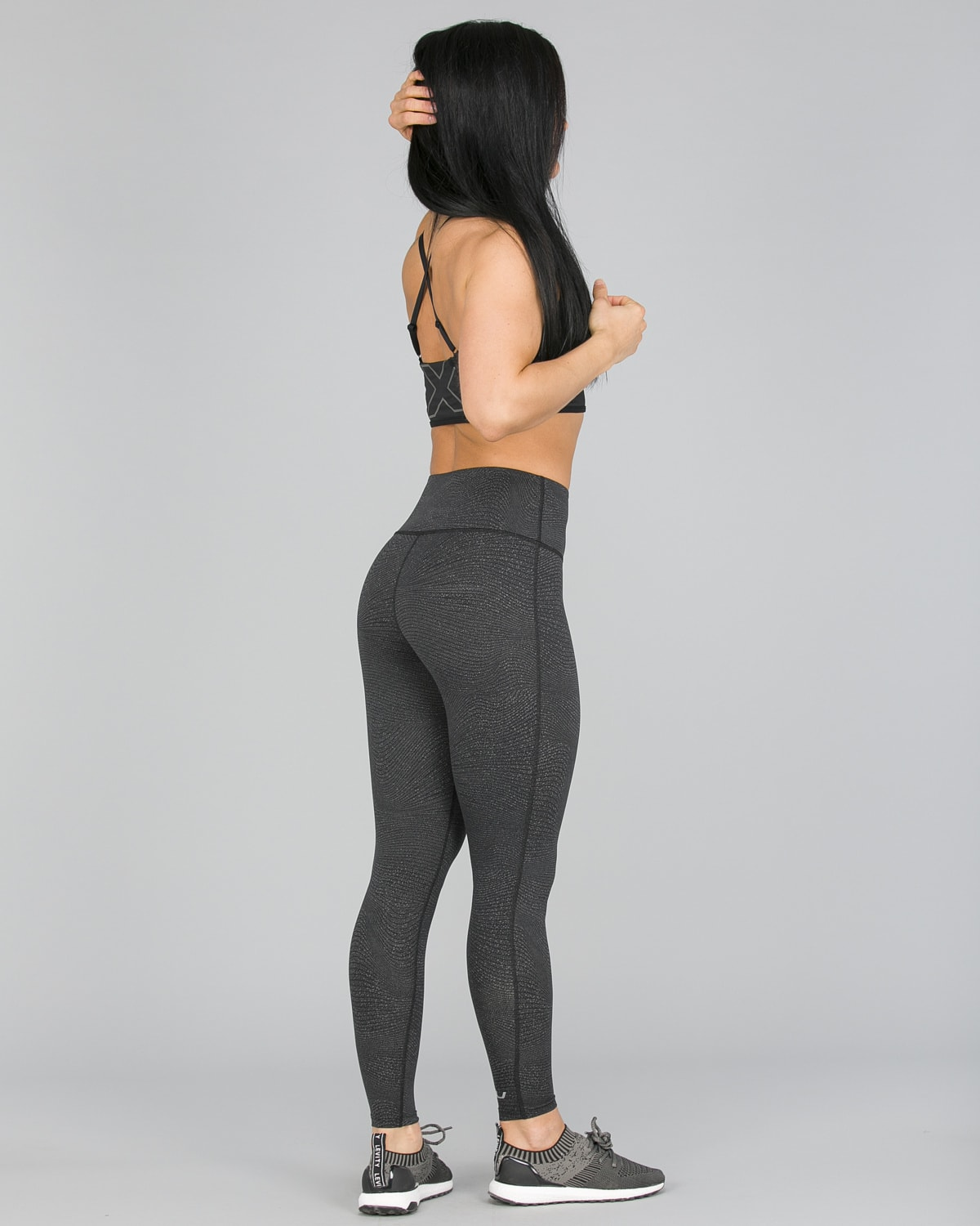 2XU Fitness Hi-Rise Comp Tights Women – Wave Spot Charcoal:Silver4