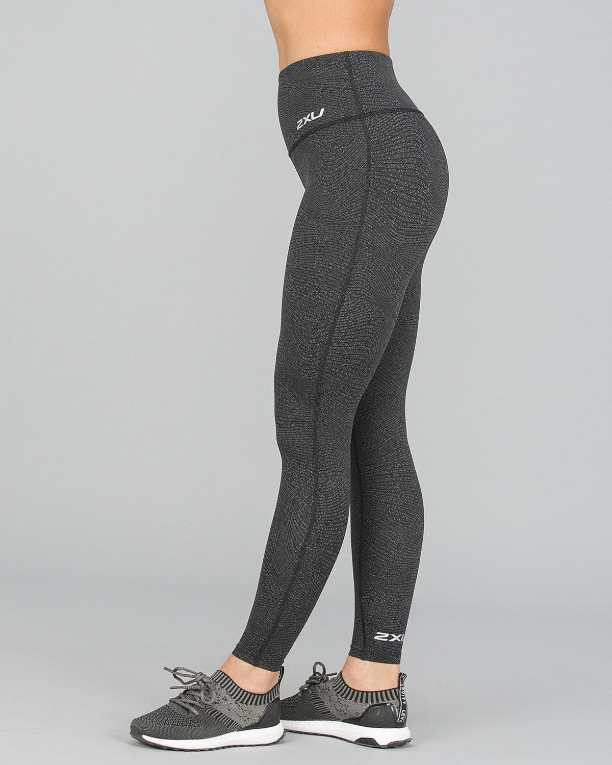 2XU Fitness Hi-Rise Comp Tights Women – Wave Spot Charcoal:Silver7