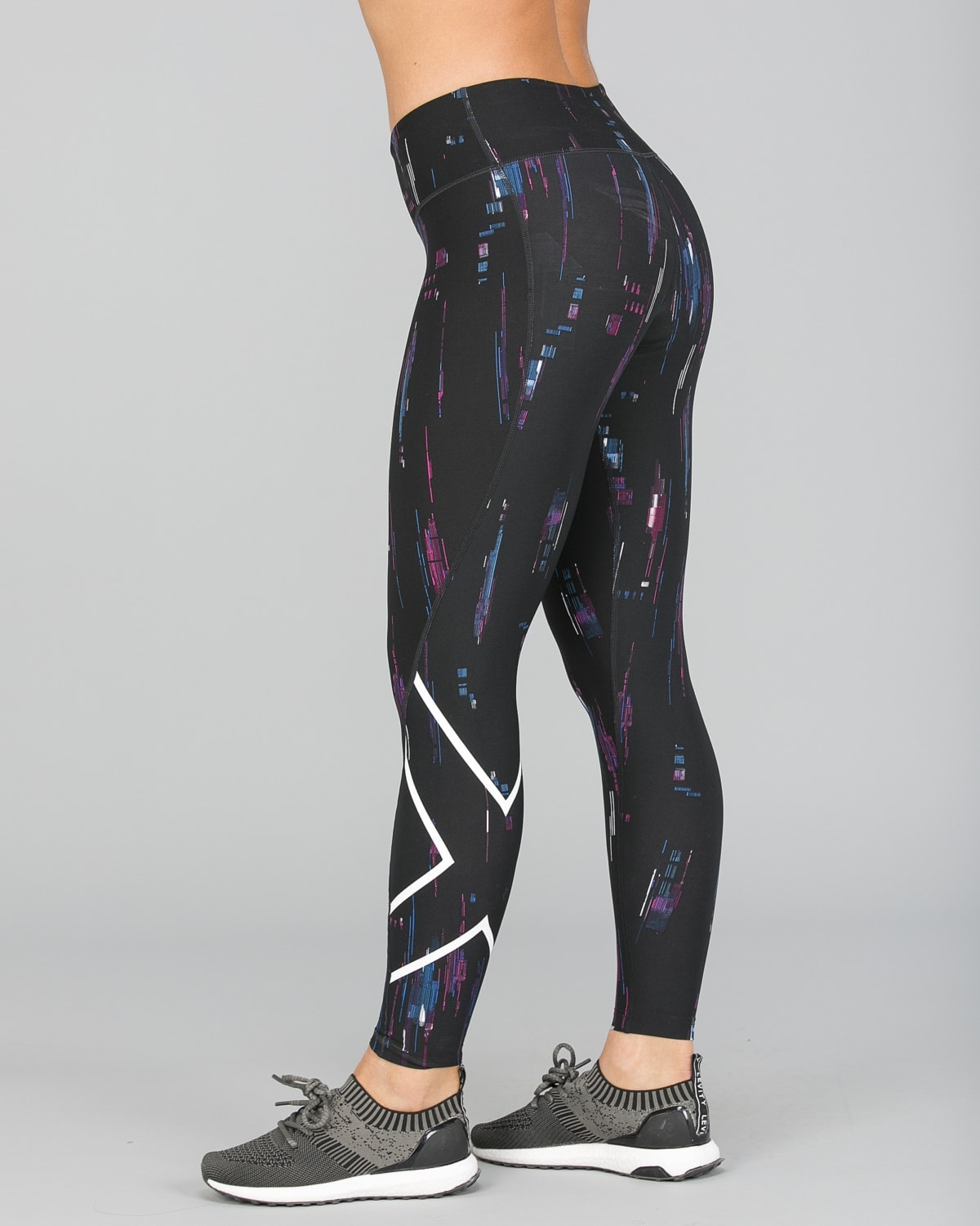 2XU Print Mid-Rise Comp Tights Women – Frequency Boysenberry:White10