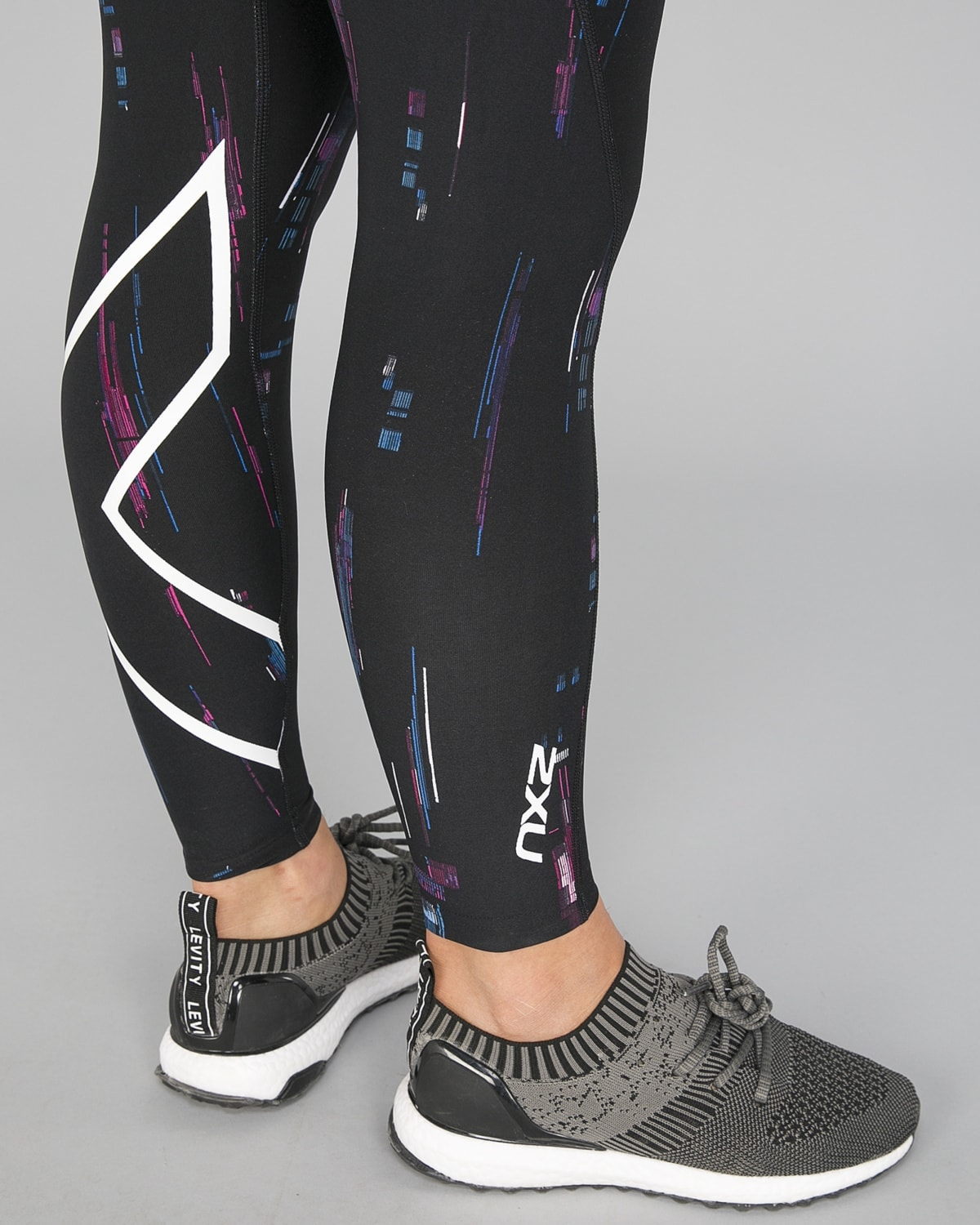 2XU Print Mid-Rise Comp Tights Women – Frequency Boysenberry:White20