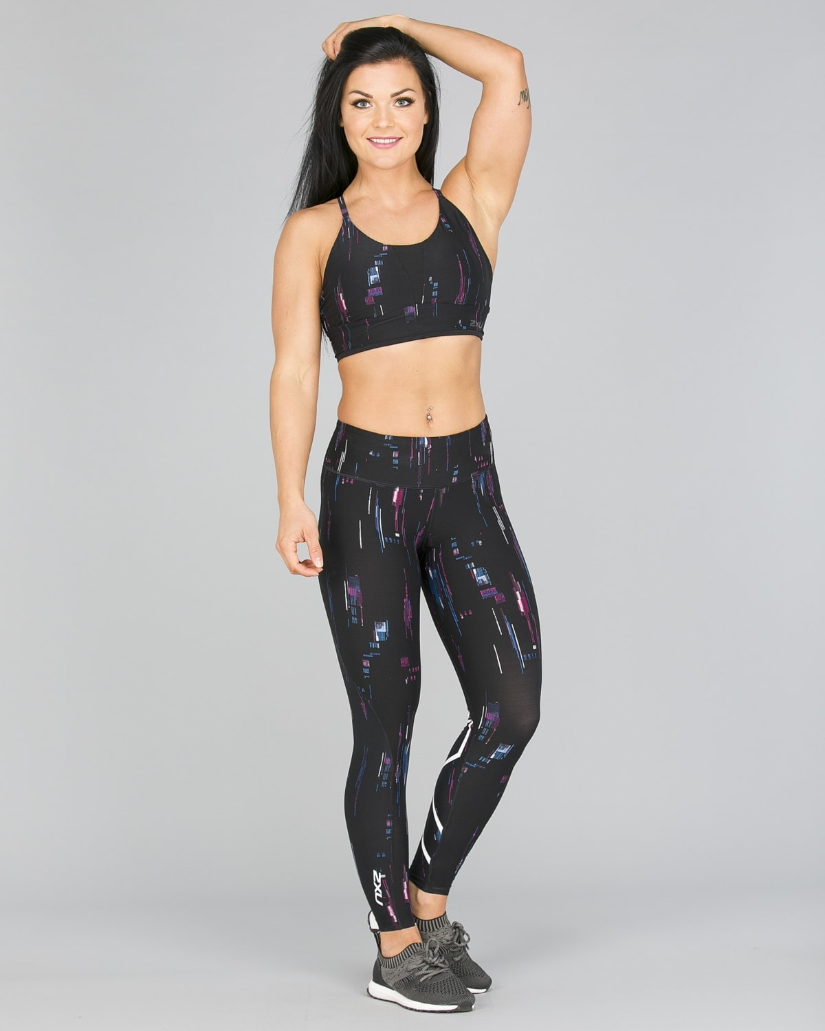 2XU Print Mid-Rise Comp Tights Women – Frequency Boysenberry:White7